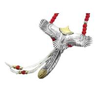 タディアンドキング 頭金 大イーグル 先金 フェザー 金赤銀ビーズ ホイール フック カスタム ネックレス 画像
